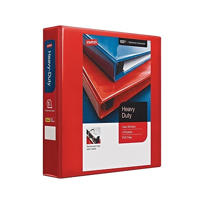 Staples Heavy Duty 1 1/2 3-Ring View Binder, Red (24681)