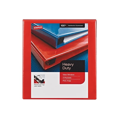 Staples Heavy Duty 1 3-Ring View Binder, Red (24669)