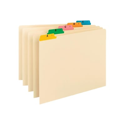Smead 5-Tab Filing Guides, Multi-Colored Fused Poly Tab (A-Z), Legal Size, Manila, 25/Set (52180)