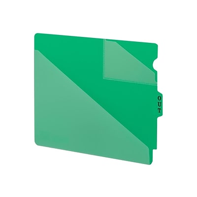 Smead End Tab Outguides, Two Pockets, Extra Wide Letter Size, Green, 50/Box (61962)