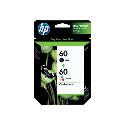 HP 60 Black/Tri-Color Standard Ink Cartridges, 2/Pack (N9H63FN)
