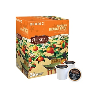 Celestial Seasonings Mandarin Orange Spice Herbal Tea, Keurig K-Cup Pods, 24/Box (14735)