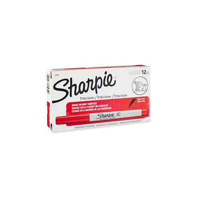 Sharpie Permanent Markers, Ultra Fine Point, Red, Dozen (37002)
