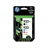 HP 920XL/920 Black/Color Ink Cartridges, High Yield/Standard, 4/Pack (N9H61FN#140)