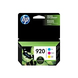 HP 920 Cyan/Magenta/Yellow Ink Cartridges, Standard Yield, 3/Pack (N9H55FN)