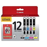 Canon CLI 251 Combo Value Black/Color Ink Cartridge, 12/pack (6513B010)