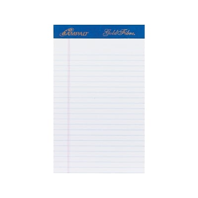 Ampad Gold Fibre Notepads, 5 x 8, College Ruled, White, 50 Sheets/Pad, 4 Pads/Pack (TOP 20-018R)
