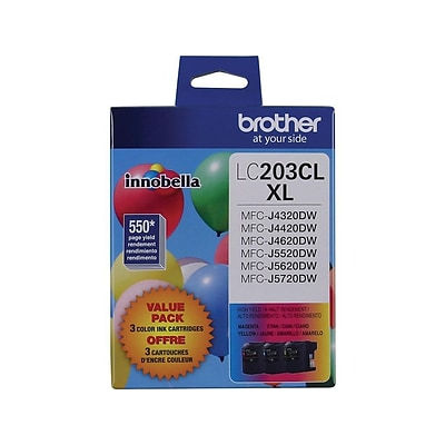 Brother LC 203XL Color Combination Ink Cartridges, High Yield, 3/Pack (LC2033PKS)