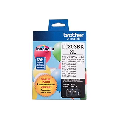 Brother LC 2032PKS Black Ink Cartridge, High Yield, 2/Pack
