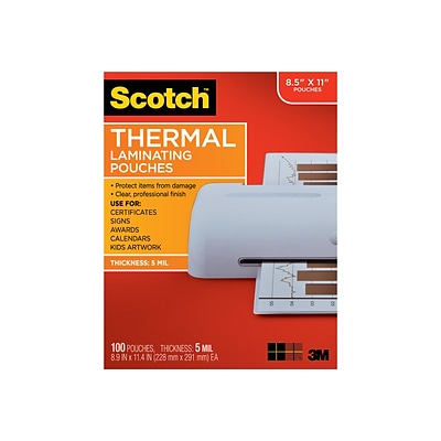 Scotch™ Thermal Laminating Pouches, Letter Size, 100 Pouches (TP5854-100)
