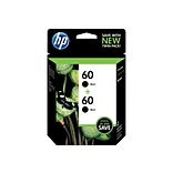 HP 60 Black Ink Cartridges, Standard, 2/Pack (CZ071FN#140)