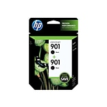 HP 901 Black Ink Cartridges, Standard, 2/Pack (CZ075FN#140)