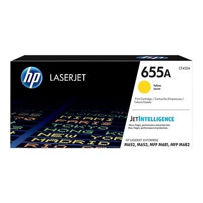 HP 655A Yellow Toner Cartridge, Standard (CF452A)