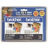 Brother LC 51BK2PK Black Ink Cartridges, 2/Pack (LC-51BK2PK)