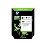 HP 21/22 Black/Color Ink Cartridges, 2/Pack (C9509FN#140)