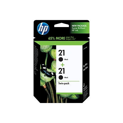 HP 21 Black Ink Cartridges, Standard Yield 2/Pack (C9508FN#140)