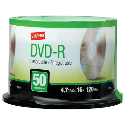 Staples 13164 16x DVD-R, Silver, 50/Pack