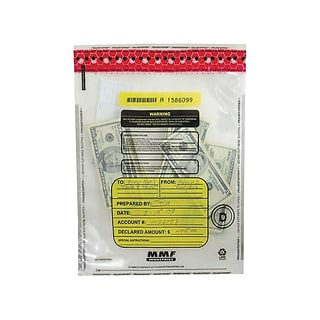 MMF Industries FRAUDSTOPPER Deposit Bags, Clear, 100/Box (2362010N20)