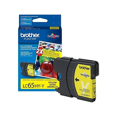 Brother LC 65 Yellow Ink Cartridge, High Yield (LC65HYYS)