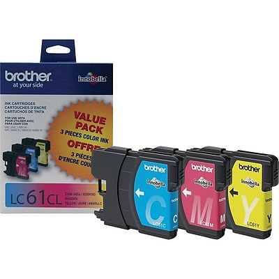 Brother LC 61 Color Combination Ink Cartridges, 3/Pack (LC613PKS)