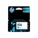 HP 920 Cyan Ink Cartridge, Standard (CH634AN#140)
