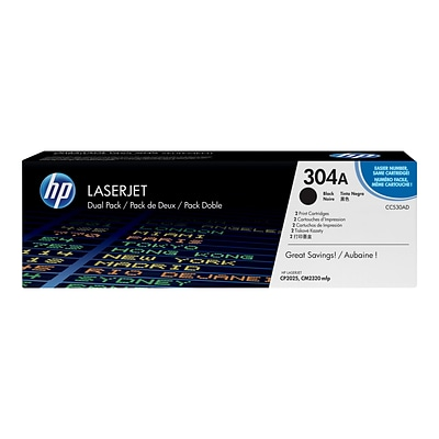 HP 304A Black Toner Cartridges, Standard, 2/Pack (CC530AD)