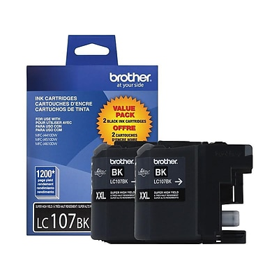 Brother LC 107 Black Ink Cartridge, Extra High Yield, 2/Pack (LC1072PKS)