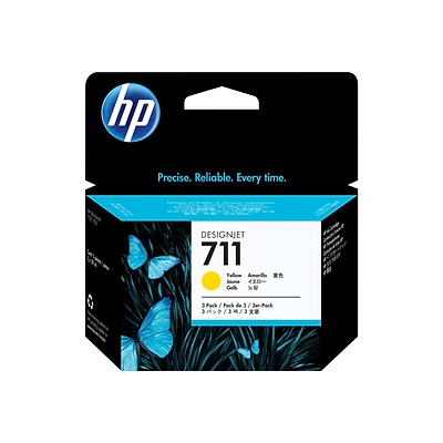 HP 711 Yellow Standard Yield Ink Cartridge, 3/Pack (CZ136A)
