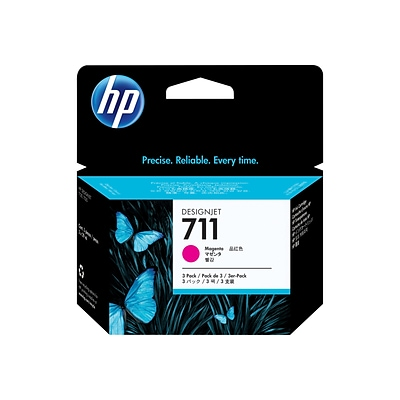 HP 711 Magenta Ink Cartridges, 3/Pack, 29ml (CZ135A)