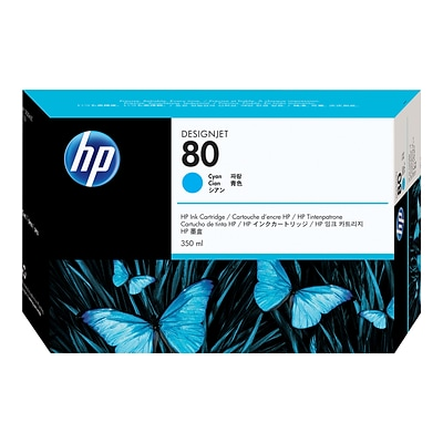 HP 80 Cyan Ink Cartridge, 350ml (C4846A)