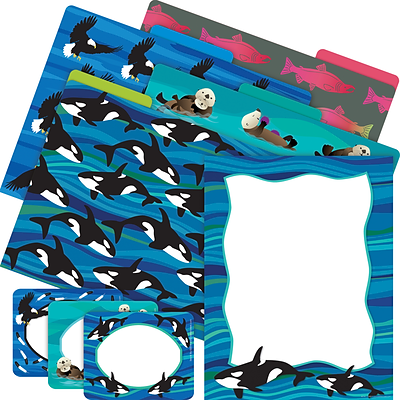 Barker Creek Get Organized Kit, Sea & Sky Whales, 107/Set