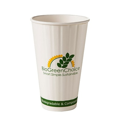 BioGreenChoice 16 oz. Design Compostable Double Wall Hot Paper Cup W/Bio Lining; 600/Case