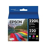 Epson 220XL Black/Color Ink Cartridges, Standard, 4/Pack (T220XL-BCS)