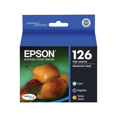 Epson 126 Multi-Pack With Sensor Color Combination Ink Cartridges, High Yield, 3/Pack (T126520-S)