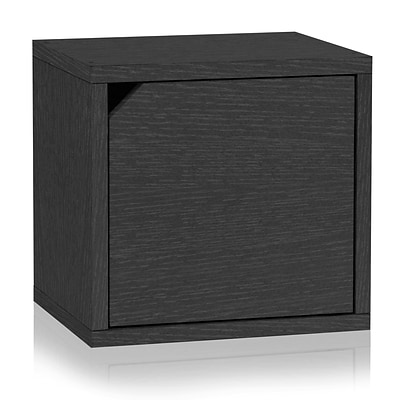 Way Basics Eco Stackable Connect Storage Cube with Door Black (C-DCUBE-BK)