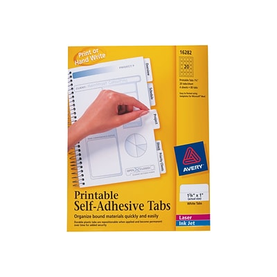 Avery Printable Self-Adhesive Index Tabs, White, 80 Tabs/Pack (16282)