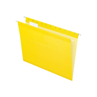 Pendaflex Reinforced Hanging File Folders, 1/5 Tab, Letter Size, Yellow, 25/Box (PFX 4152 1/5 YEL)