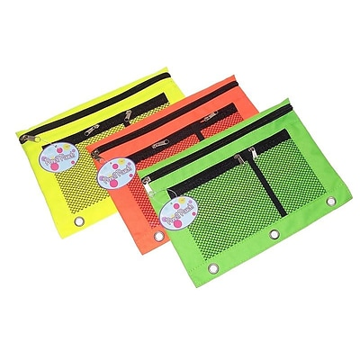 Inkology Zipper Polyester Pouches, Assorted Neon Colors, 12/Set (427-1)