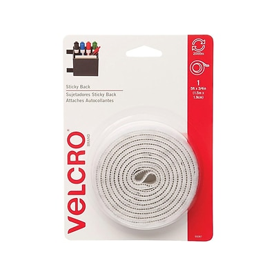 VELCRO 0.75W x 5L Sticky Back Hook & Loop Fastener, White, Roll (90087)