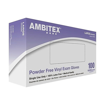 Ambitex V200 Series Powder Free Clear Vinyl Gloves, Large, 100/Box (VLG200)