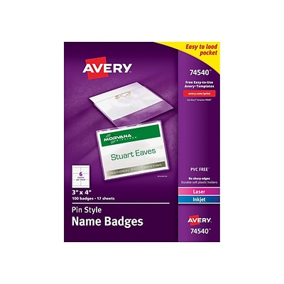 Avery ID Badge Holders/Cards, Clear with White Inserts, 100/Box (74540)