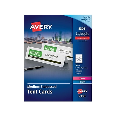 Avery 2.5H x 8.5W White Uncoated Table Tents, Inkjet/Laser, 100/Box