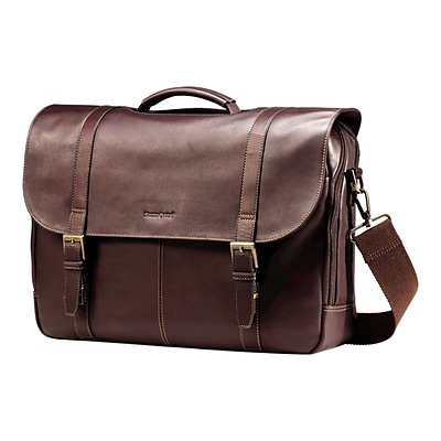 Samsonite Flapover Case Double Gusset Laptop Notebook, Brown Leather(45798-1139)