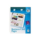 Avery Business Card Pages, 3-Hole Punched, 8.5 x 11, Clear, 10/Pack (76009)