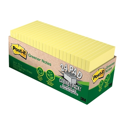 Post-it Greener Standard Notes, 3 x 3 Canary, 75 Sheets/Pad, 24 Pads/Pack (654R-24CP-CY)