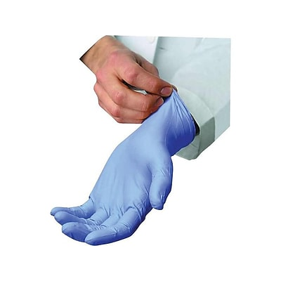 AMBITEX N5201 Series Powder Free Blue Nitrile Gloves, Large, 100/Box (NLG5201)