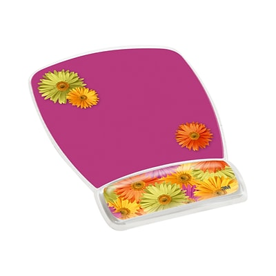 3M™ Precise™ Mouse Pad with Gel Wrist, Optical Mouse Performance, Soothing Gel Comfort, 6.8 x 8.6, Daisy Design (MW308DS)