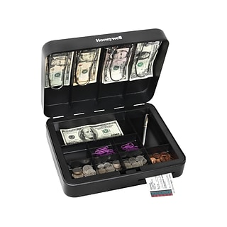 Honeywell Deluxe Cash Box, 13 Compartments, Black (6113)