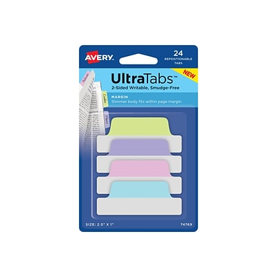 Avery UltraTabs Repositionable Margin Index Tabs, Pastels, 24 Tabs/Pack (74769)