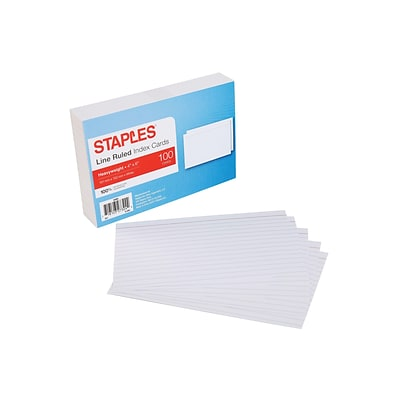 Staples Heavyweight Ruled 4 x 6 Index Cards, White, 100/Pack  (50985)